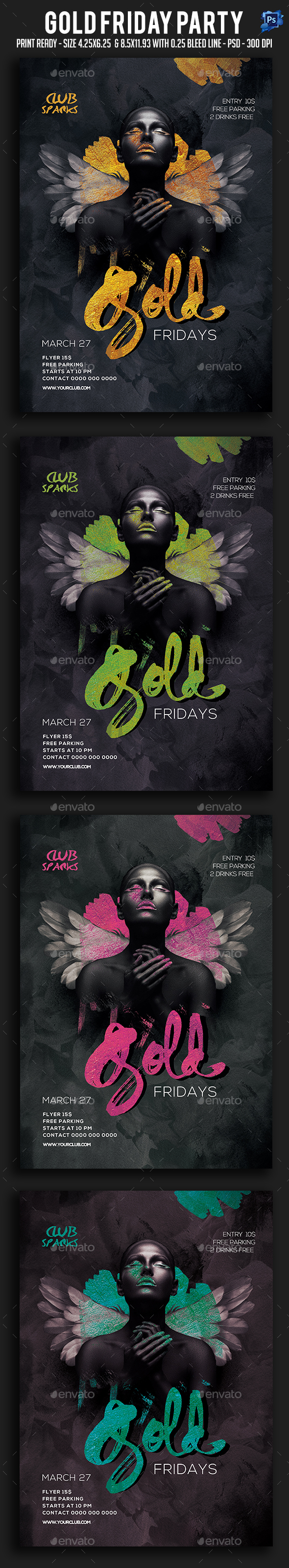 Gold Friday Party Flyer - Clubs & Parties Events