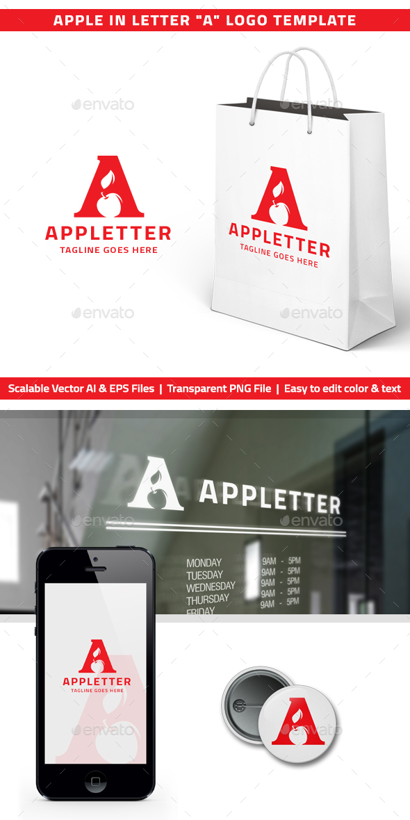 "Apple in Letter ""A"" Logo - Letters Logo Templates"