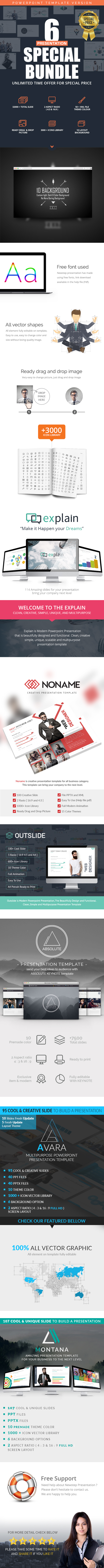 6 in 1 Bundle - Powerpoint Template - Business PowerPoint Templates