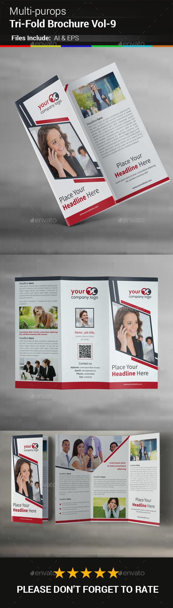 Multipurpose Business Tri-Fold Brochure Vol-9 - Corporate Brochures