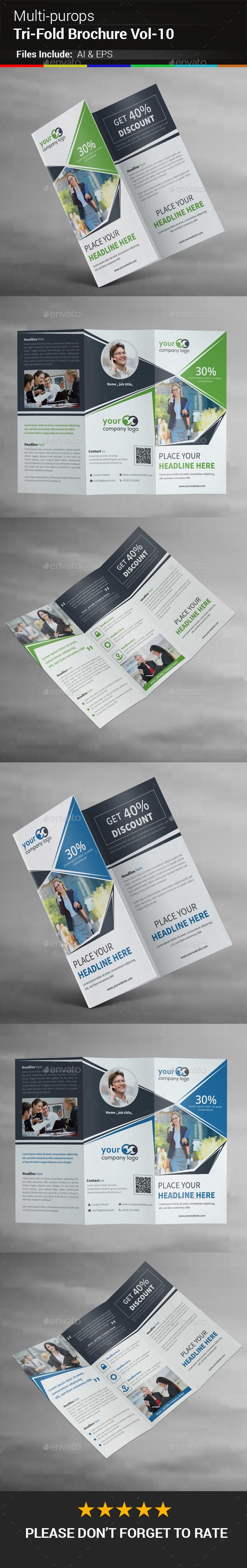 Multipurpose Business Tri-Fold Brochure Vol-10 - Corporate Brochures