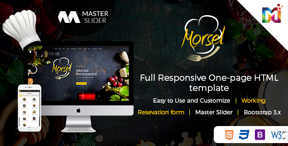 Morsel - Restaurant Lounge Cafe HTML5 Responsive Template - Restaurants & Cafes Entertainment