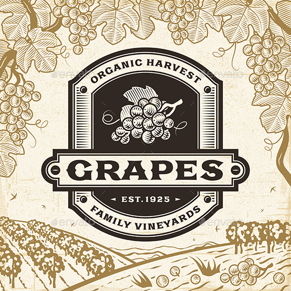 GraphicRiver Retro Grapes Label On Harvest Landscape 20462589