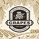 Retro Grapes Label On Harvest Landscape