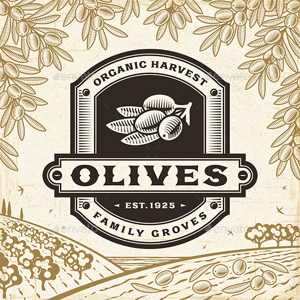 Retro Olives Label On Harvest Landscape - Decorative Symbols Decorative