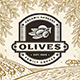 Retro Olives Label On Harvest Landscape