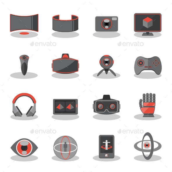 Flat Icons for Virtual Reality - Technology Icons