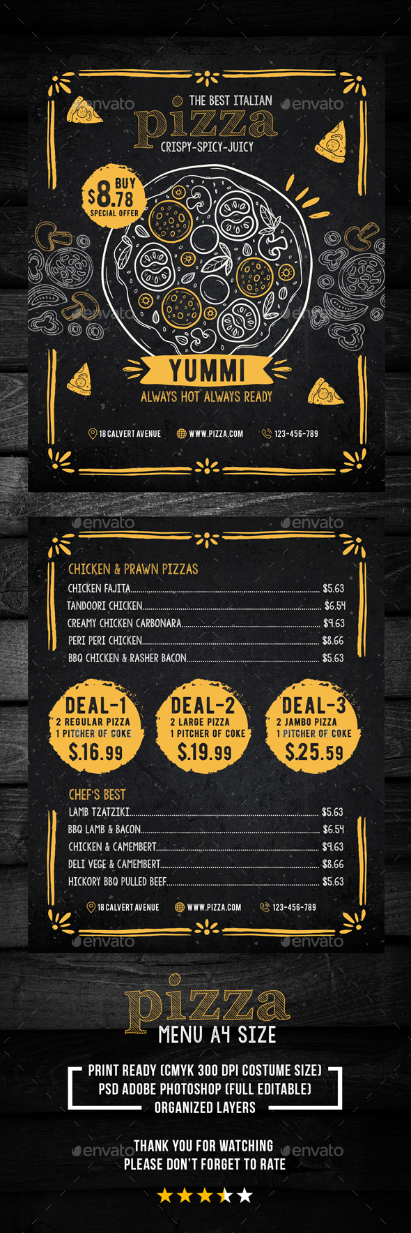 Pizza Menu for Restaurant - Restaurant Flyers