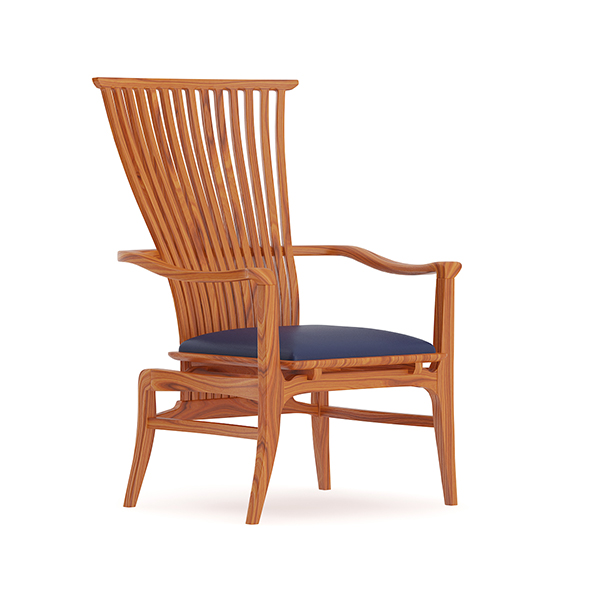 Wooden Chair with Blue Seat - 3DOcean Item for Sale