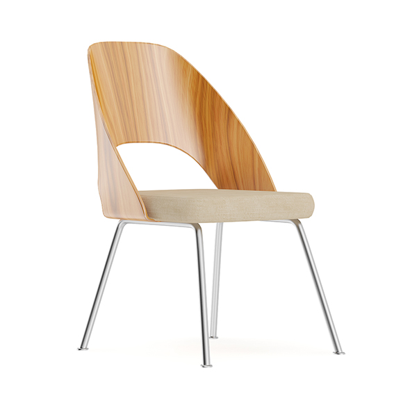Wood and Metal Chair with Fabric Seat - 3DOcean Item for Sale
