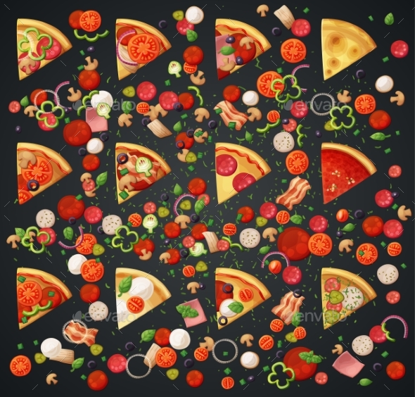 Various Pizza Top View Slices and Ingredients - Food Objects