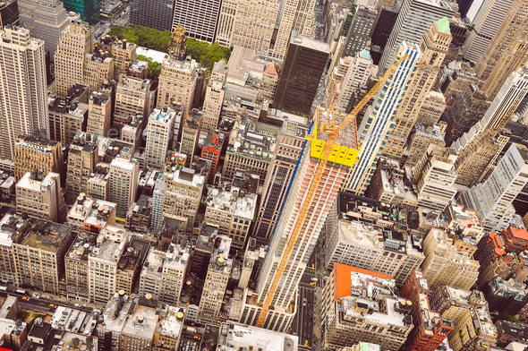 Aerial view of Manhattan scyscrapers and residential buildings - Stock Photo - Images