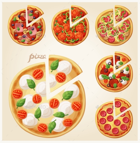 Pizza Top View Set. Italian Pizza with Slices - Food Objects