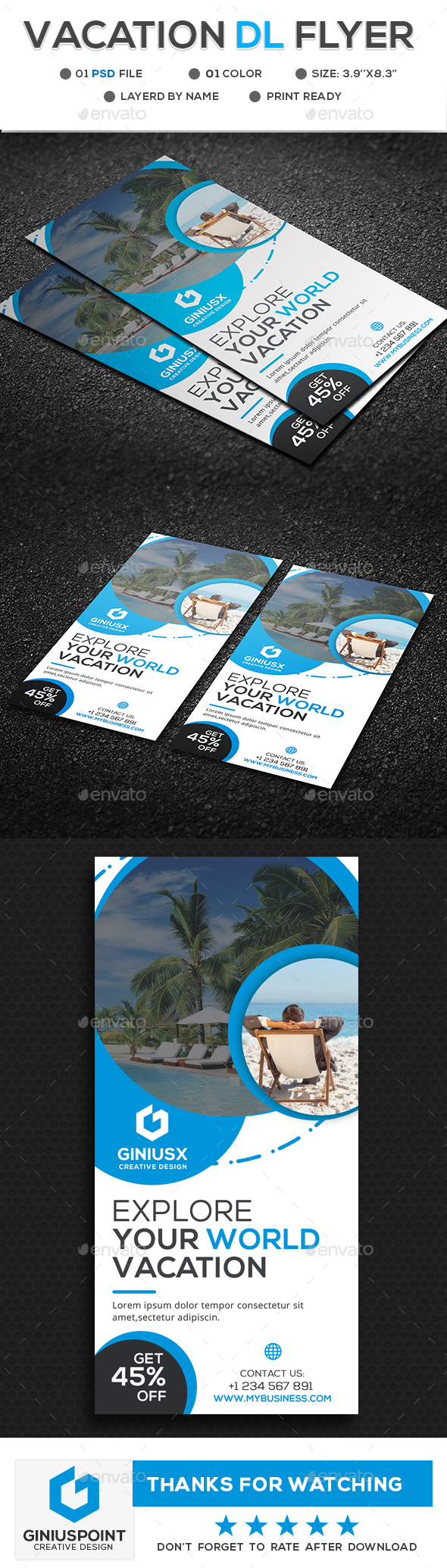 Vacation DL Flyer Template - Flyers Print Templates