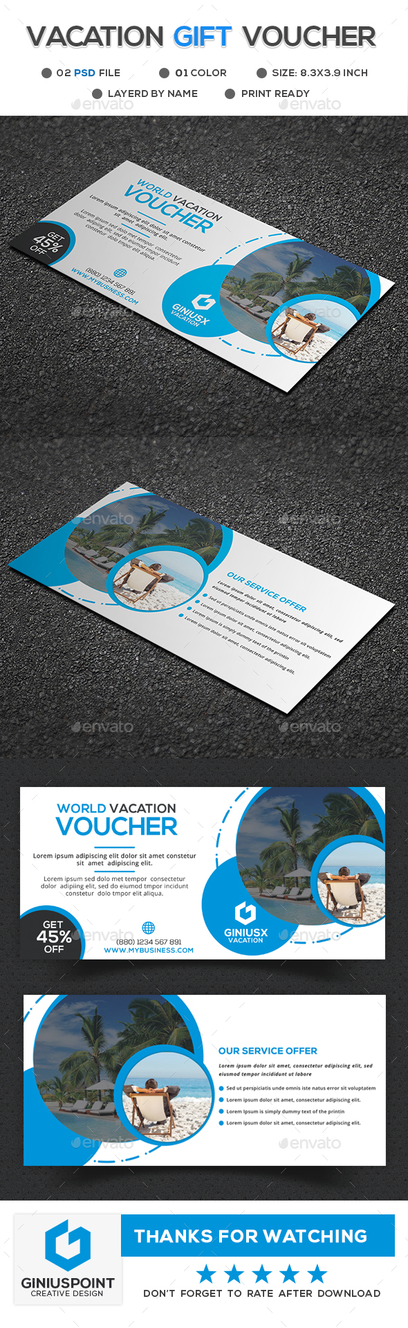 Vacation Gift Voucher - Cards & Invites Print Templates