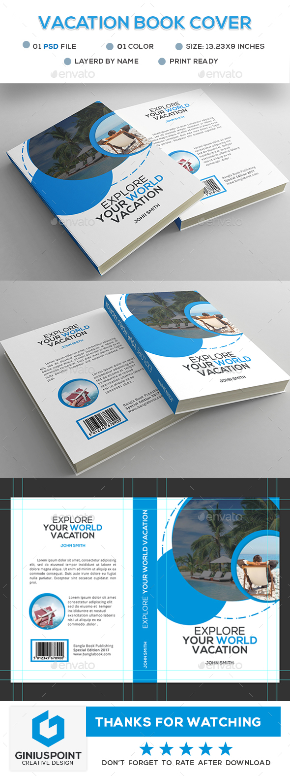 Vacation Book Cover - Miscellaneous Print Templates