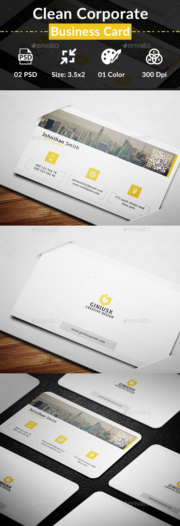 Clean Corporate Business Card - Business Cards Print Templates