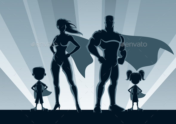 GraphicRiver Superhero Family Silhouettes 20463273
