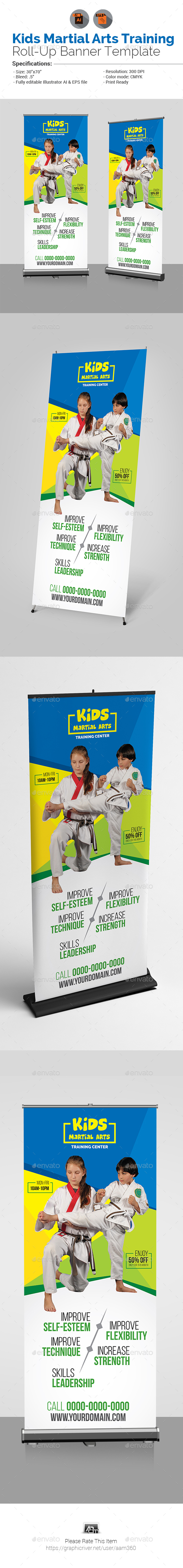 Kids Martial Arts Training Center Roll-Up - Signage Print Templates