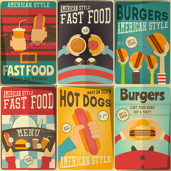 GraphicRiver Fast Food Posters Set 20463288
