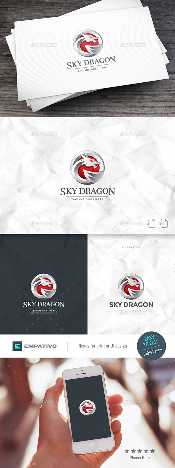 Sky Dragon Logo Template - Animals Logo Templates