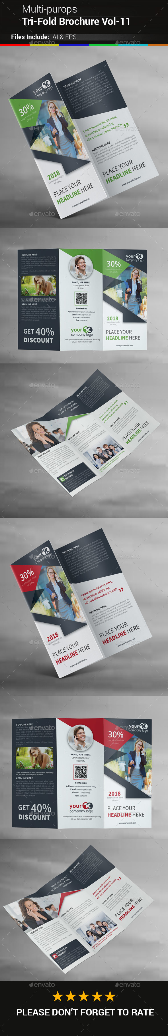 Multipurpose Business Tri-Fold Brochure Vol-11 - Corporate Brochures