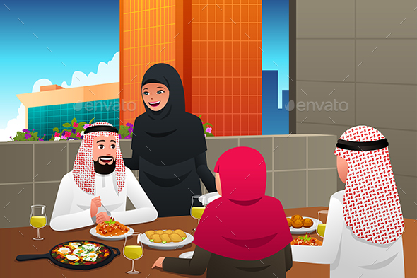 GraphicRiver Muslim Family Eating at Home 20463839