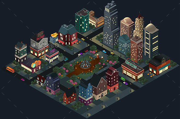 Isometric Design of City Streets and Buildings at Night - Buildings Objects