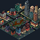 Isometric Design of City Streets and Buildings at Night - GraphicRiver Item for Sale