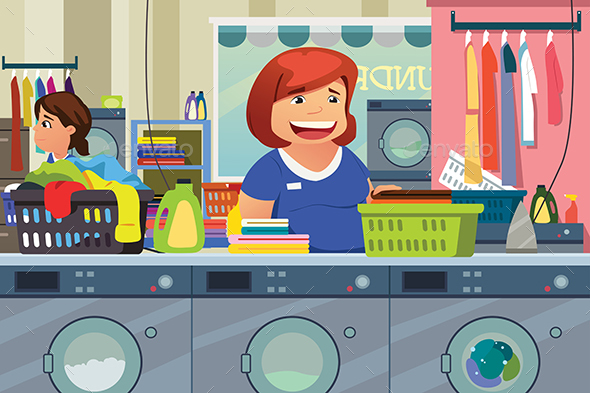 GraphicRiver Woman Doing Laundry at Laundry Place 20463844