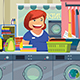 Woman Doing Laundry at Laundry Place - GraphicRiver Item for Sale