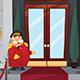 Doorman Standing in Front of the Entrance Doors