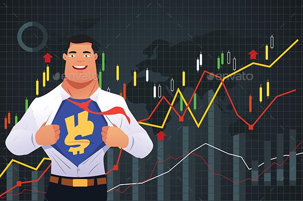 Superhero Businessman in Finance Concept - Concepts Business