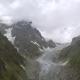 Flying Over Glacier Valley in Svaneti Rocks. Snow Peak in Caucasus, Georgia