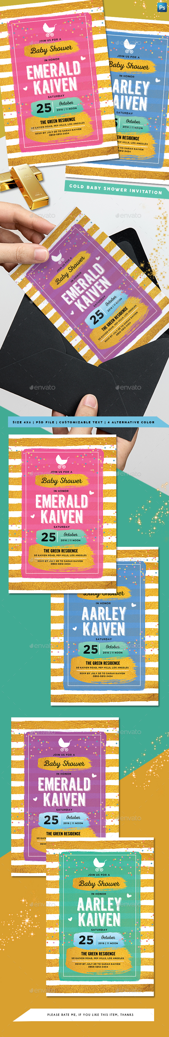 GraphicRiver Gold Baby Shower Invitation 20464085