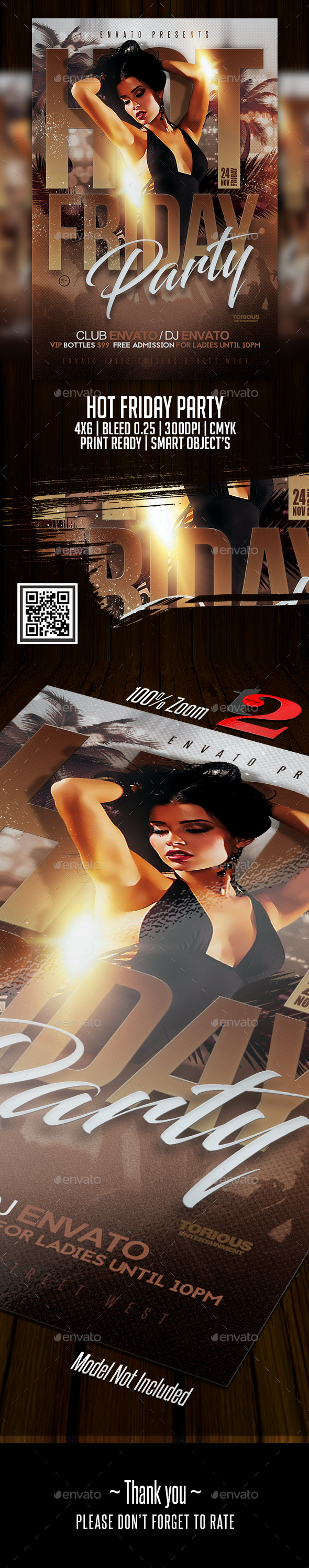 Hot Friday Party Flyer Template - Clubs & Parties Events