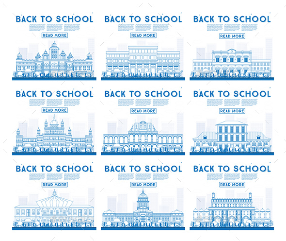 GraphicRiver Outline Set of University High School and College Study Banners 20464370