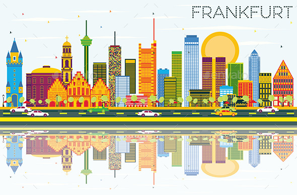 Frankfurt Skyline with Color Buildings, Blue Sky and Reflections. - Buildings Objects