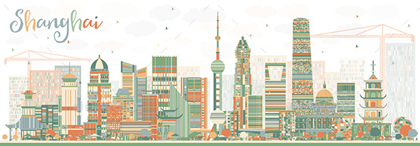 Shanghai Skyline with Color Buildings. - Buildings Objects