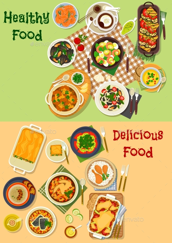 Meat, Seafood Dishes Icon for Healthy Food Design - Food Objects