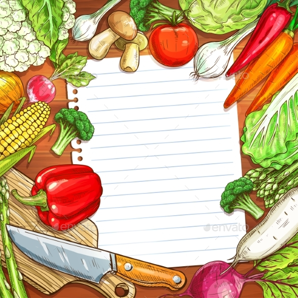 GraphicRiver Vegetables and Blank Paper on Wooden Background 20464512