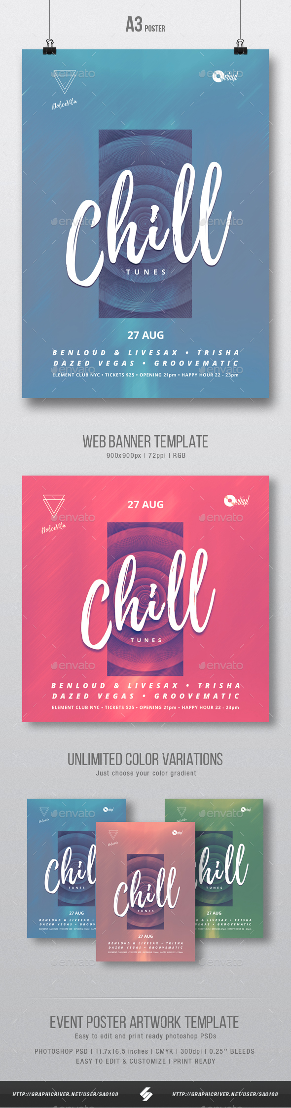 GraphicRiver Chill Tunes Event Flyer Poster Artwork Template A3 20464791