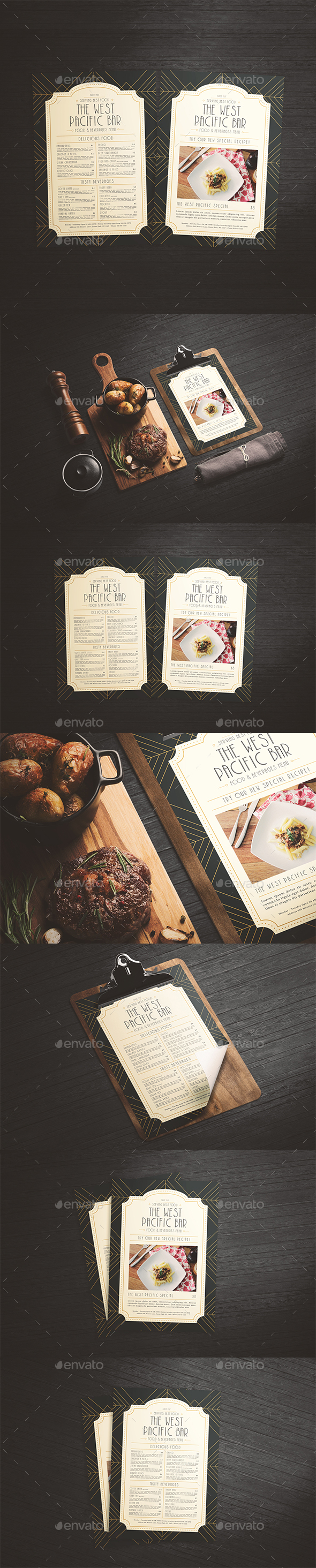 Art Deco Menu - Food Menus Print Templates