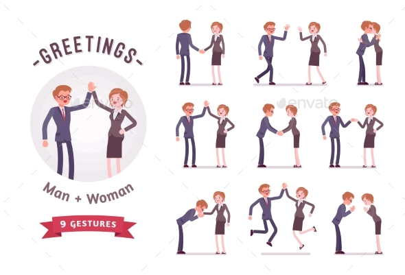 Business People Greeting Character Set, Various - Business Conceptual