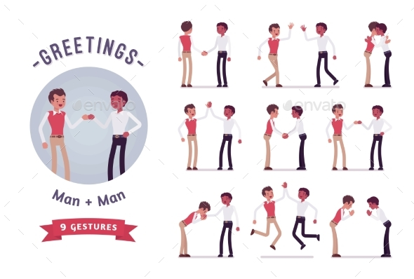Male Clerks Greeting Character Set, Various Poses - Business Conceptual