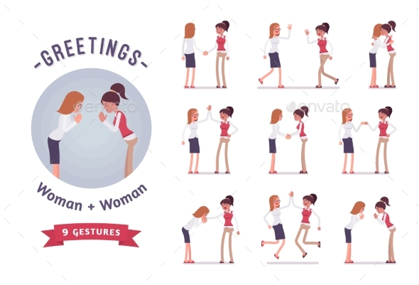 Female Clerks Greeting Character Set, Various - Business Conceptual
