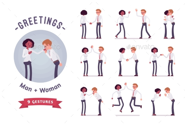Male, Female Clerks Greeting Character Set - Business Conceptual