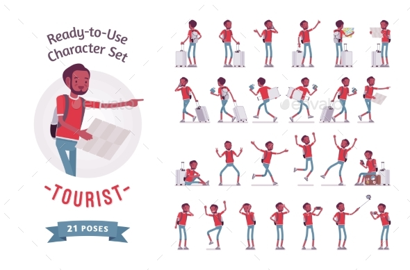 Black Male Tourist Character Set, Various Poses - Travel Conceptual