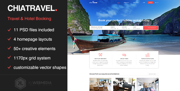 Chiatravel - Travel & Hotel Booking PSD template - Travel Retail