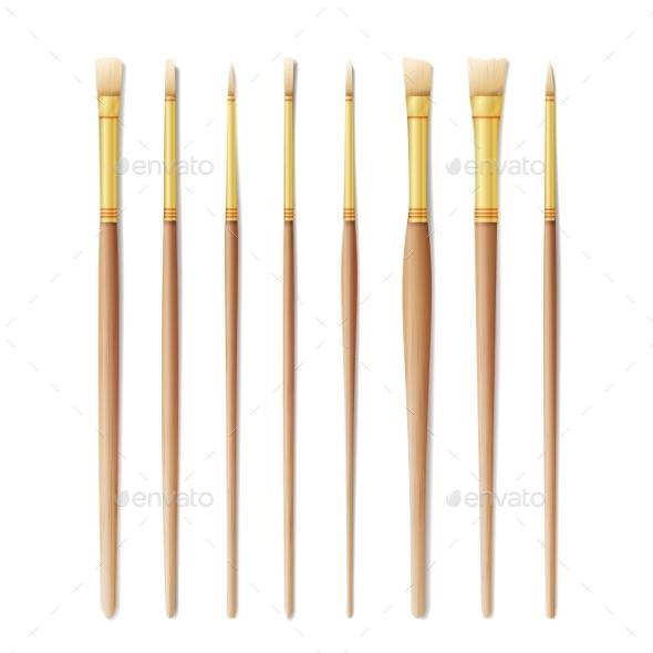 Realistic Artist Paintbrushes Set. Paint Brush Set - Miscellaneous Vectors